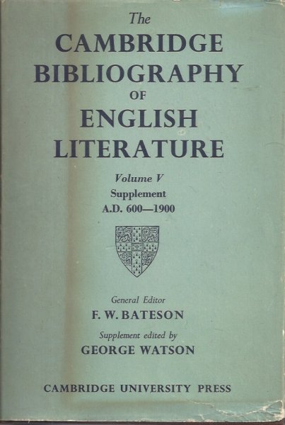 Image for The Cambridge Bibliography of English Literature Volume V Supplement AD 600 - 1900