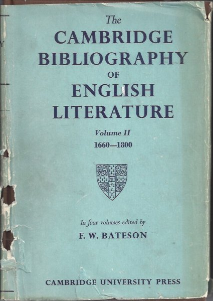 Image for The Cambridge Bibliography of English Literature Volume II 1660 - 1800 In Four Volumes