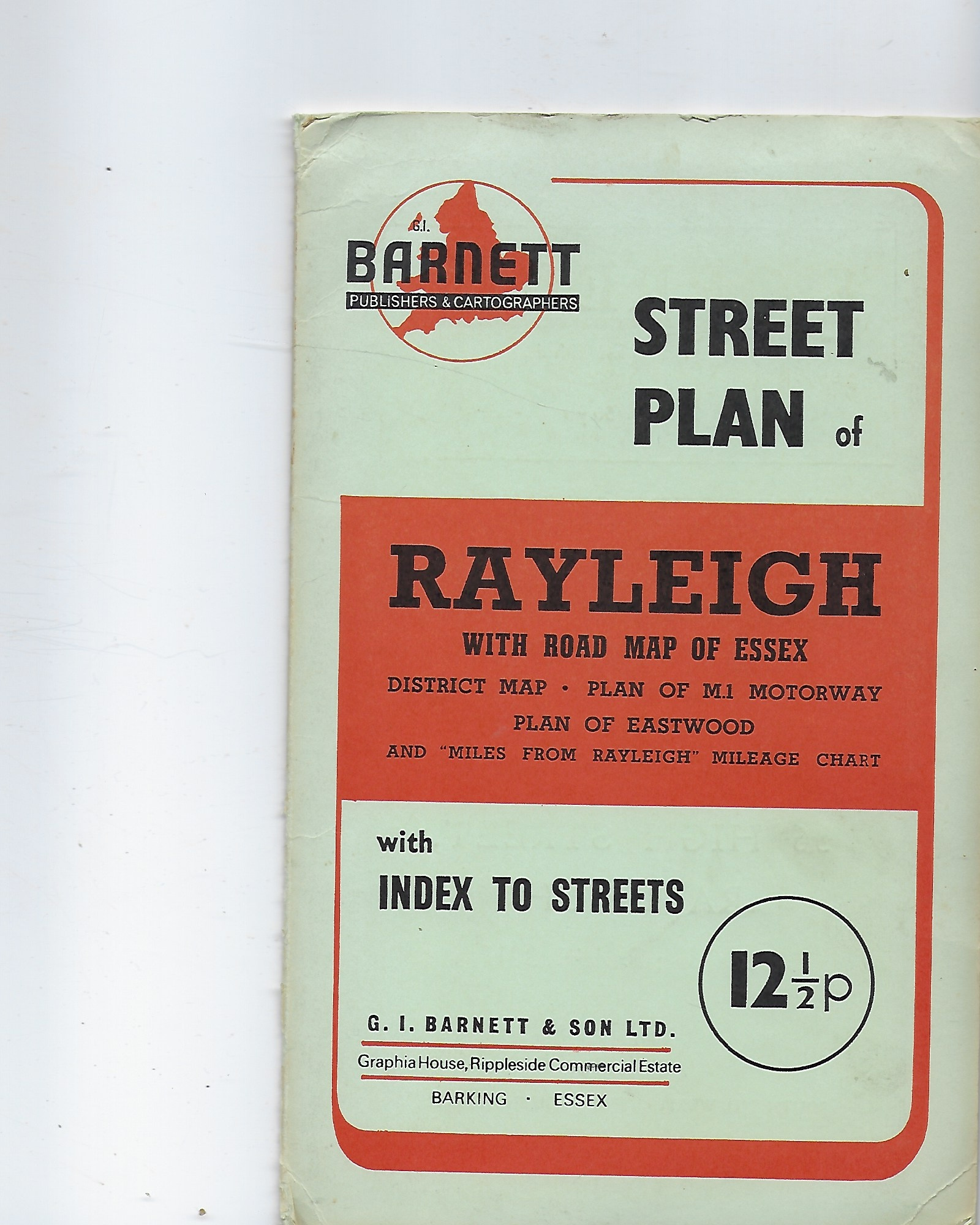 Image for Barnett's Street Plan of Rayleigh, with Road Map of Essex ; District Map; Plan of M1 Motorway; Plan of Eastwood with Index to Streets